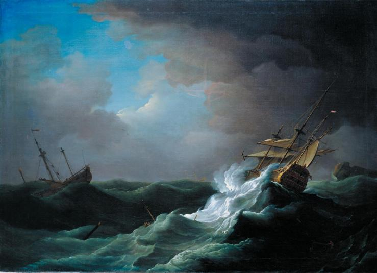 Ships in Distress in a Storm c.1720-30 by Peter Monamy 1681-1749