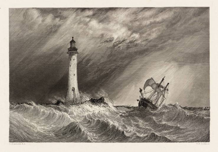 Eddystone Lighthouse, engraved by W.B. Cooke 1836 by Clarkson Frederick Stanfield 1793-1867