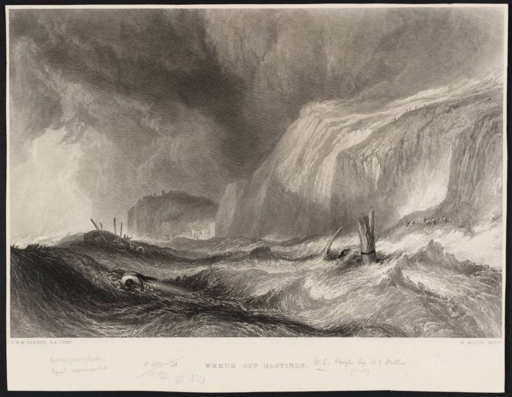 Wreck off Hastings, engraved by W. Miller published 1859-61 by Joseph Mallord William Turner 1775-1851